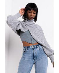 AKIRA Fireside Ultra Cropped Sweater - Gray