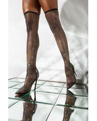 AKIRA Other Designs Fishnet Rhinestone Stiletto Boot - Black