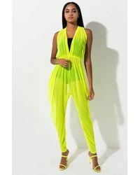 AKIRA Sheer Beauty Mesh Jumpsuit - Yellow