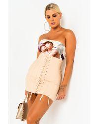 AKIRA Living Lavish Corseted Bandage Mini Skirt - Natural