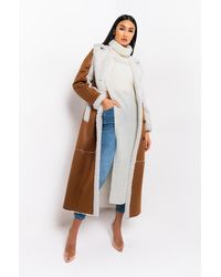 AKIRA Oh Na Na Shearling Suede Trench Coat - White