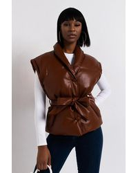 AKIRA Talk To Me Baby Belted Puffy Vest - Brown
