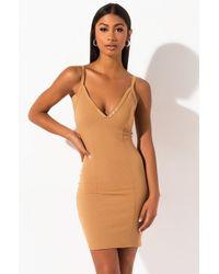 PAXTON Leigh Ribbed Bodycon Mini Dress - Brown