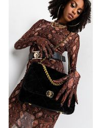 AKIRA Mother Winter Faux Fur Quilted Purse - Black