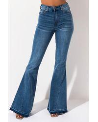 AKIRA Kendall & Kylie High Rise Flare Denim Trousers - Blue