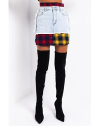 AKIRA Marianna Plaid Detail Denim Mini Skirt - Blue