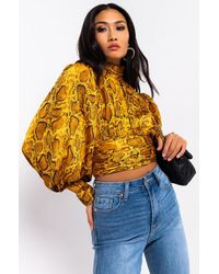 AKIRA Golden Hour Long Sleeve Snake Print Blouse - Yellow