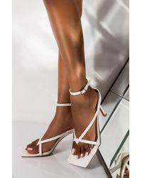 AKIRA Thinking Of Me Ankle Strap Heeled Sandal - White