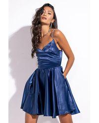 AKIRA Can't Stop Me Mini Satin Dress - Blue