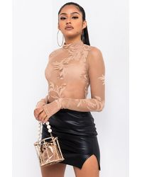 AKIRA Now Or Never Long Sleeve Lace Collared Bodysuit - Natural