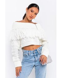 AKIRA Bobbi Off-shoulder Sweater - White