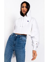 Champion Womens Reverse Weave Cropped Hoodie - White