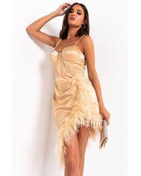 AKIRA Give It A Twirl Corset Mini Dress With Feather Fringe - Natural