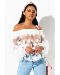AKIRA Hold Me Off The Shoulder Blouse - White