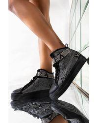 AKIRA Azalea Wang High Top Flat Diamond Sneaker - Black