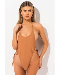 AKIRA Where We Belong Low Back One Piece Swimsuit - Brown