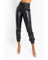 AKIRA Slim Thicc Faux Leather JOGGER - Black
