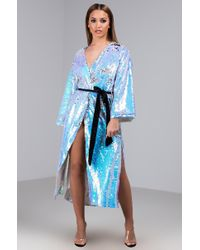 AKIRA The Way You Move Sequin Duster - Blue