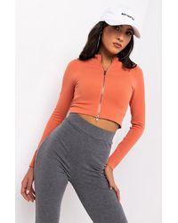 PAXTON Ultra Seamless Long Sleeve Front Zipper Top - Orange