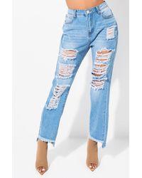 AKIRA - Do Not Stress Distressed Boyfriend Jeans - Lyst
