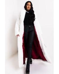 AKIRA Winter Whites Long Faux Fur Trench Coat