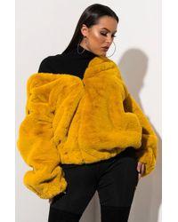 AKIRA Plush Baby Pullover Shearling Jacket - Yellow