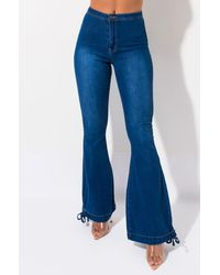 AKIRA Jade Drawstring Hem Bell Bottom Jeans - Blue