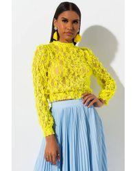 AKIRA Y R U So Sweet Cropped Lace Blouse - Yellow
