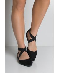 AKIRA - Criss Cross Pointed Toe Flats - Lyst