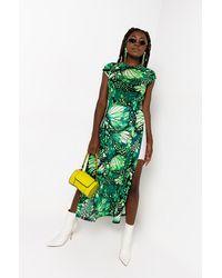 AKIRA Butterfly Heaven Short Sleeve Mesh Side Slit Maxi Dress - Green