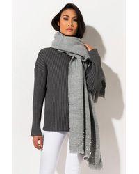 AKIRA Hella Good Scarf With Pearl Embellishment - Grey