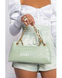 AKIRA Minty Croc Purse - Green