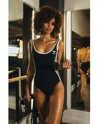 Lyst - Adidas Originals Black 3-stripes Bodysuit in Black 05b0f66b0