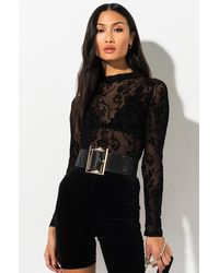 AKIRA Fine With Me Long Sleeve Mesh Top - Black