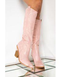 AKIRA Good To You Knee High Boot - Pink