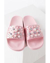 AKIRA - Pearls Of Wisdom Beaded Slide Sandals - Lyst