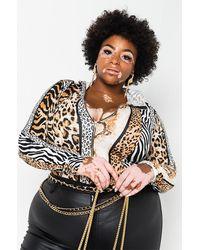 AKIRA Plus Mood Swings Long Sleeve Hoodie Animal Print Bodysuit - Multicolour