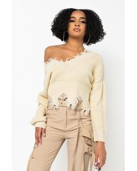 AKIRA Jumper Weather Distressed Long Sleeve Cropped Jumper - White