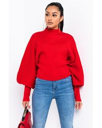AKIRA Cute And Cozy Mock Neck Sweater - Red