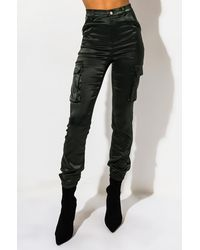 AKIRA Mission Impossible Satin Cargo JOGGER Trousers - Green