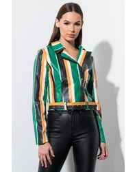 AKIRA Crazy Little Thing Striped Moto Jacket - Multicolour