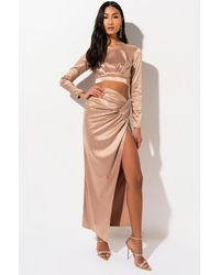 AKIRA Golden Hour Rhinestone Maxi Skirt - Natural