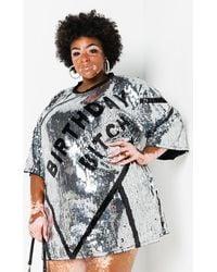 AKIRA Plus Party Never Ends Sequin Birthday Dress - Metallic