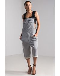 Champion Reverse Weave Terry Cotton Short Overalls - Grey