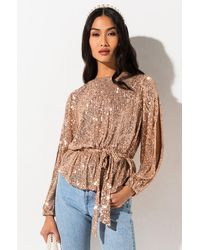AKIRA Make You Work For It Belted Sequin Blouse - Metallic