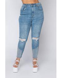 AKIRA Plus Size Too Good High Waisted Rhinestone Fringe Skinny Jeans - Blue