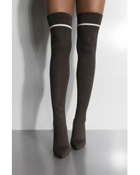 AKIRA Midnight Rain Thigh High Knit Heeled Boot - Black