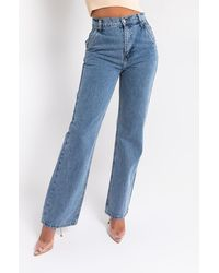 AKIRA Straight Up High Rise Relaxed Jeans - Blue