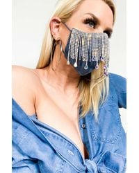 AKIRA All Da Tings Denim Rhinestone Fringe Fashion Mask Cover - Blue