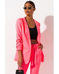 AKIRA Who Runs The World Cinched Sleeve Blazer - Pink